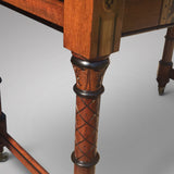 19th Century Oak Arts & Crafts Writing Table - Leg detail view