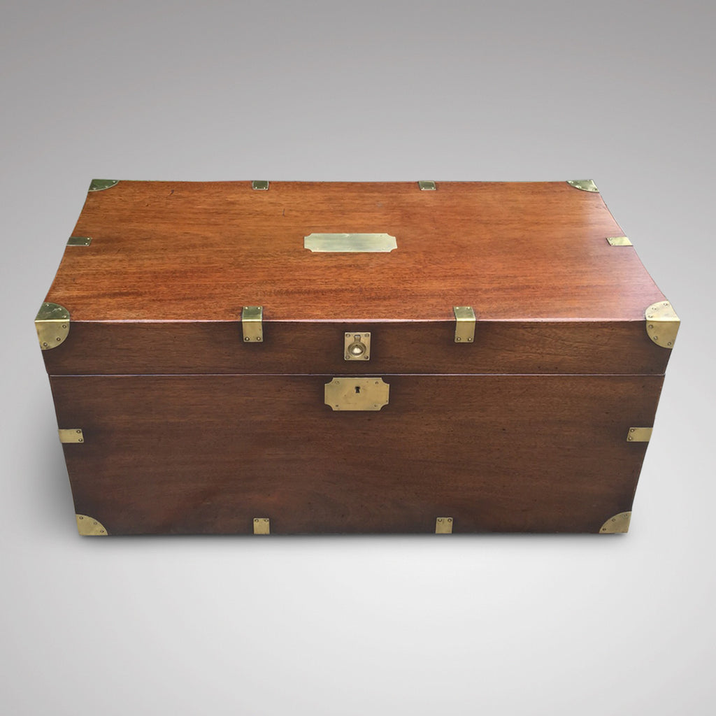 19th Century Mahogany Campaign Trunk - Front and top view