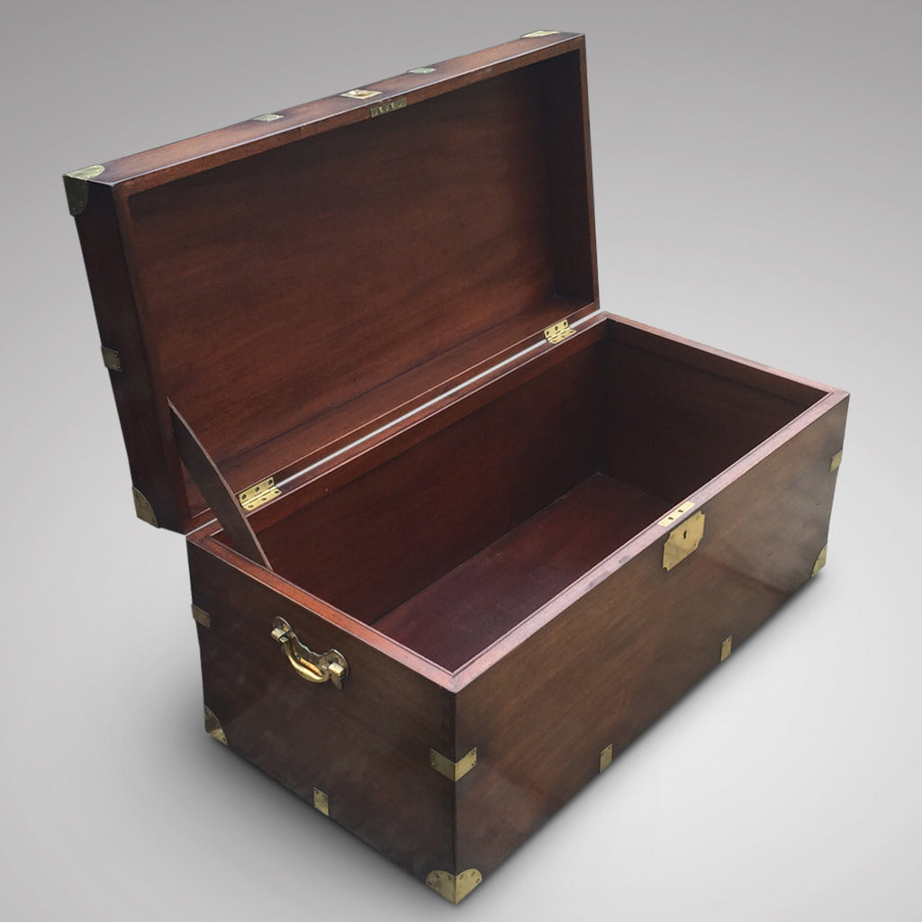 19th Century Mahogany Campaign Trunk - Inside view