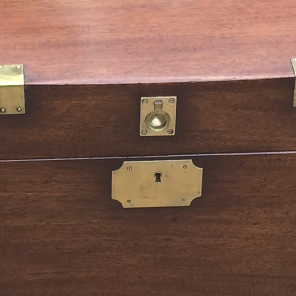 19th Century Mahogany Campaign Trunk - Front lock detail view