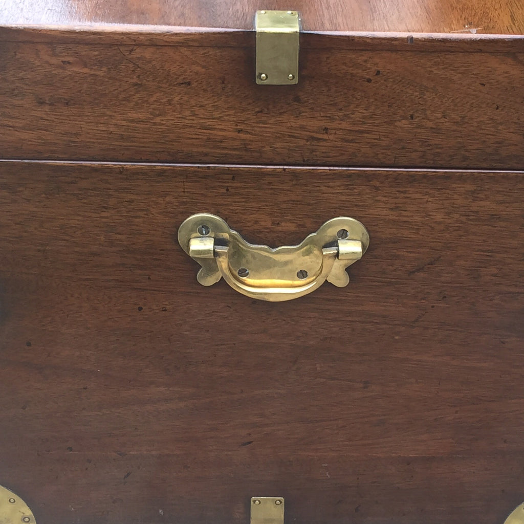 19th Century Mahogany Campaign Trunk - Side handle detail view