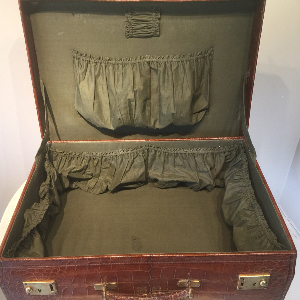 Early  20th Century Crocodile Skin Suitcase - Inside view