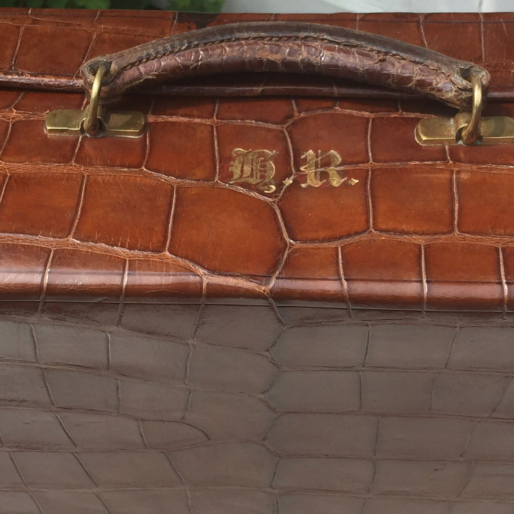 Early  20th Century Crocodile Skin Suitcase - View of handle detail