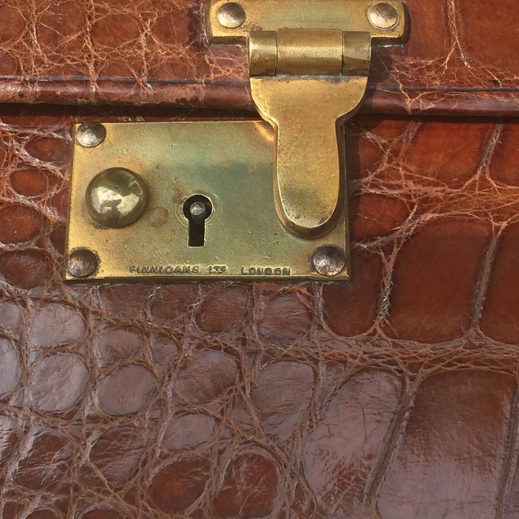Early 20th Century Crocodile Skin Suitcase - View of lock detail
