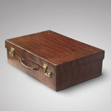 Early  20th Century Crocodile Skin Suitcase - Front & side view 1