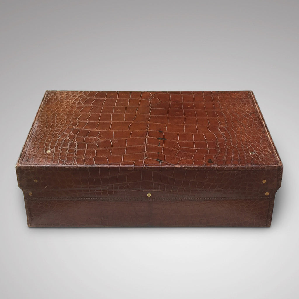 Early  20th Century Crocodile Skin Suitcase - Back view