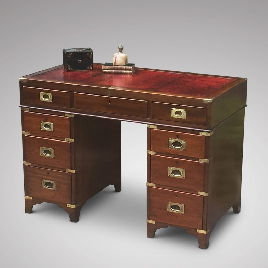 19th Century Mahogany Campaign Desk -Front view 1