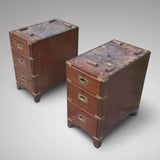 19th Century Mahogany Campaign Desk - Front view of pedestals