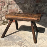 18th Century Welsh Rustic Oak Stool - Front View - 2