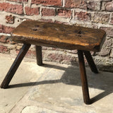 18th Century Welsh Rustic Oak Stool - Front View - 3