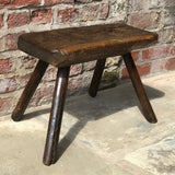 18th Century Welsh Rustic Oak Stool - Front & Side View - 1