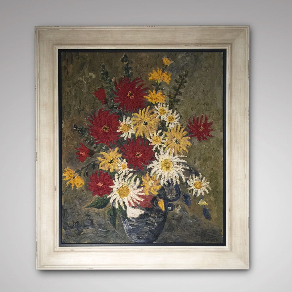 Large 20th Century Floral Still Life Oil Painting- Main View-1
