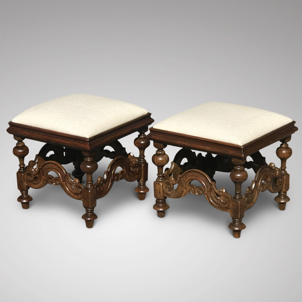 Pair of 19th Century Walnut Stools in Charles II Style