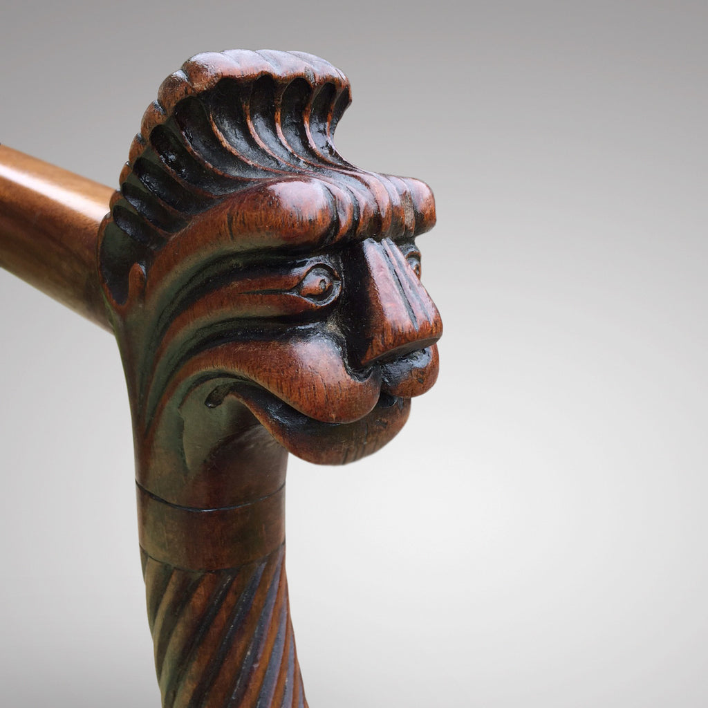 19th Century Mahogany Elbow Chair - Detail View of Carving - 2