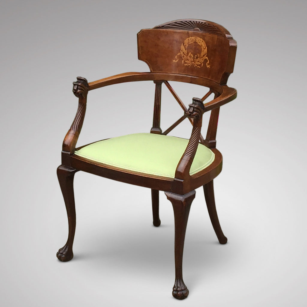 19th Century Mahogany Elbow Chair - Front & Side View - 3