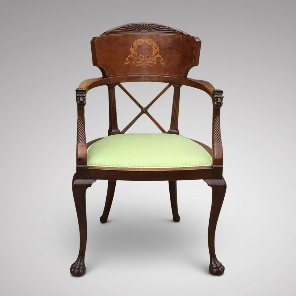 19th Century Mahogany Elbow Chair - Front View - 1