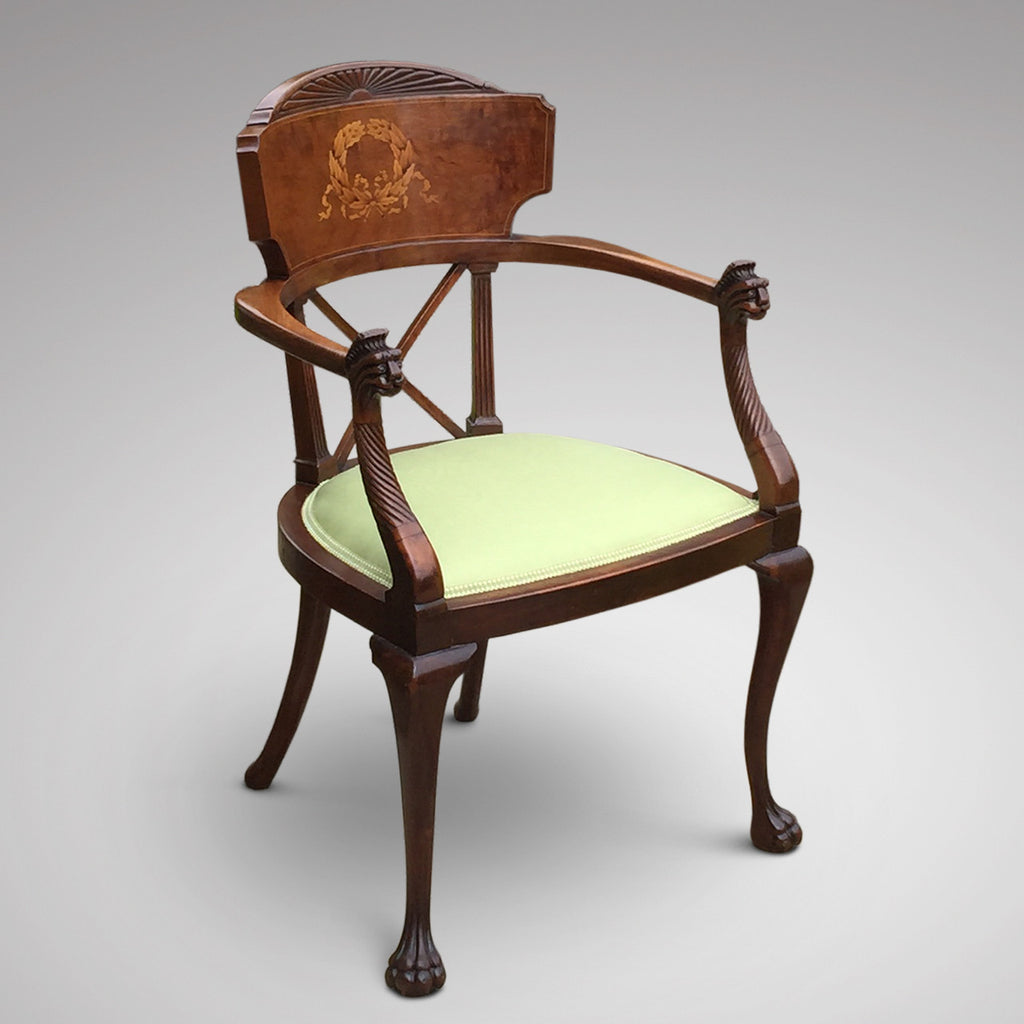 19th Century Mahogany Elbow Chair - Front & Side View - 5
