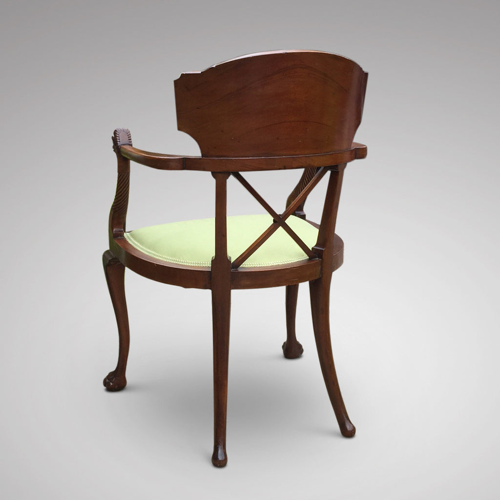 19th Century Mahogany Elbow Chair - Back View - 7