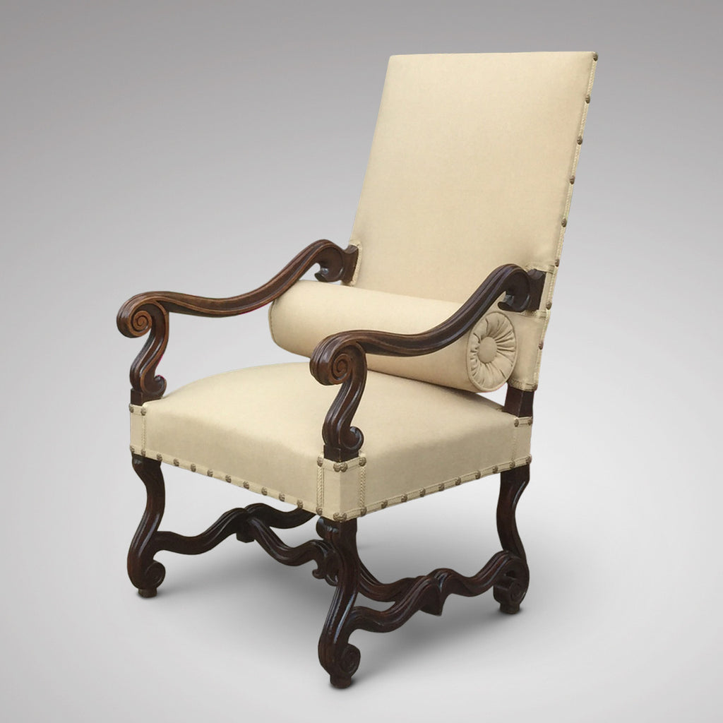 19th Century Carved Open Armchair - Side view with bolster- 2