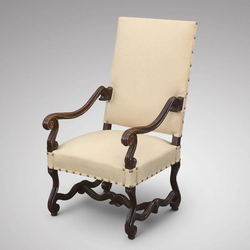19th Century Carved Open Armchair - Side view without bolster 2