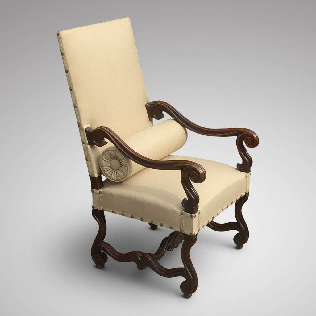 19th Century Carved Open Armchair - Side view with bolster 1