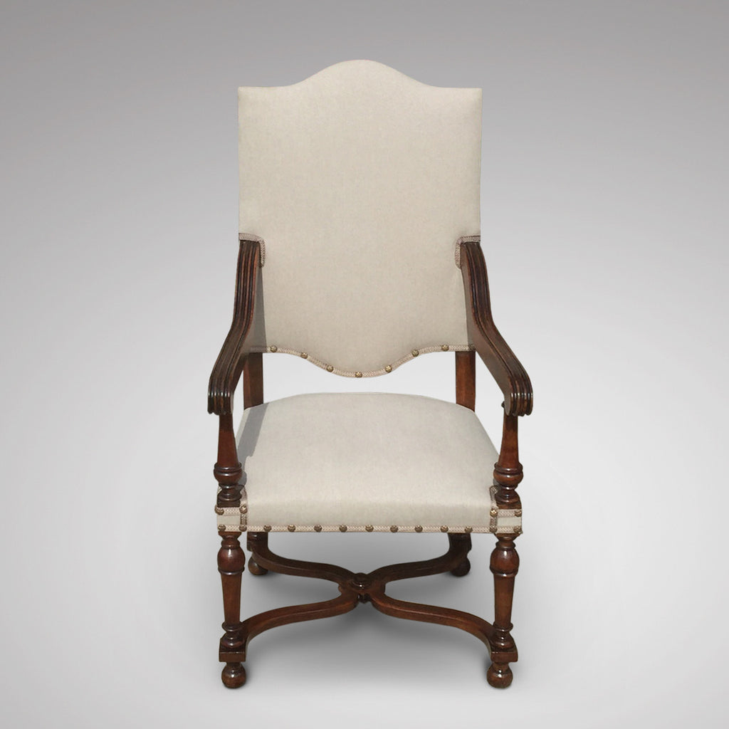 19th Century High Back Open Armchair - Front view showing shaped back 1