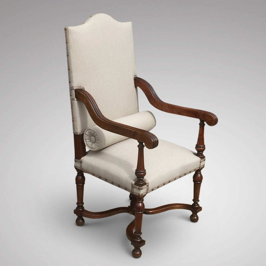 19th Century High Back Open Armchair - Front & side view with bolster 2