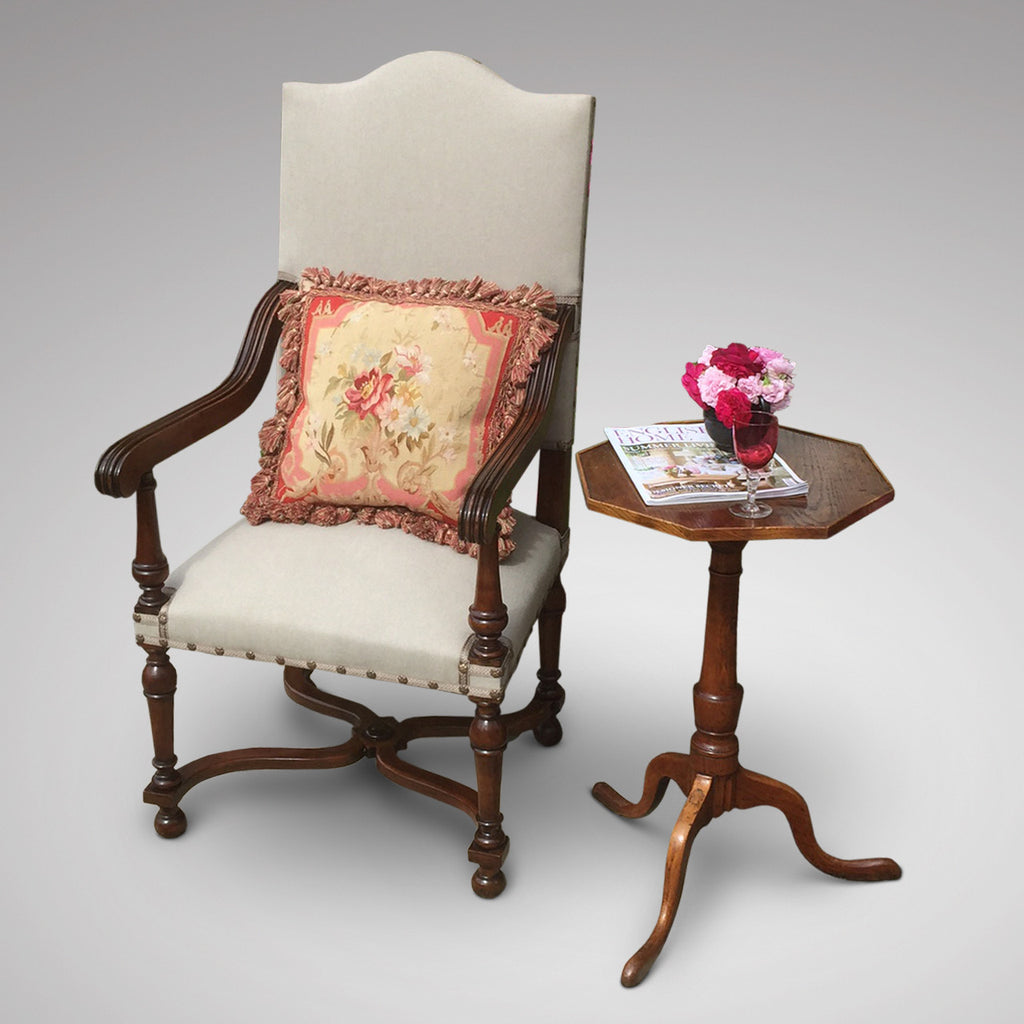 19th Century High Back Open Armchair- Front view styled with cushion