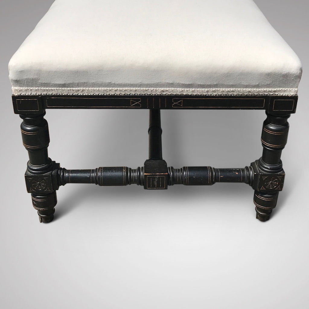 Large 19th Century Aesthetic Movement Stool - Side View - 2