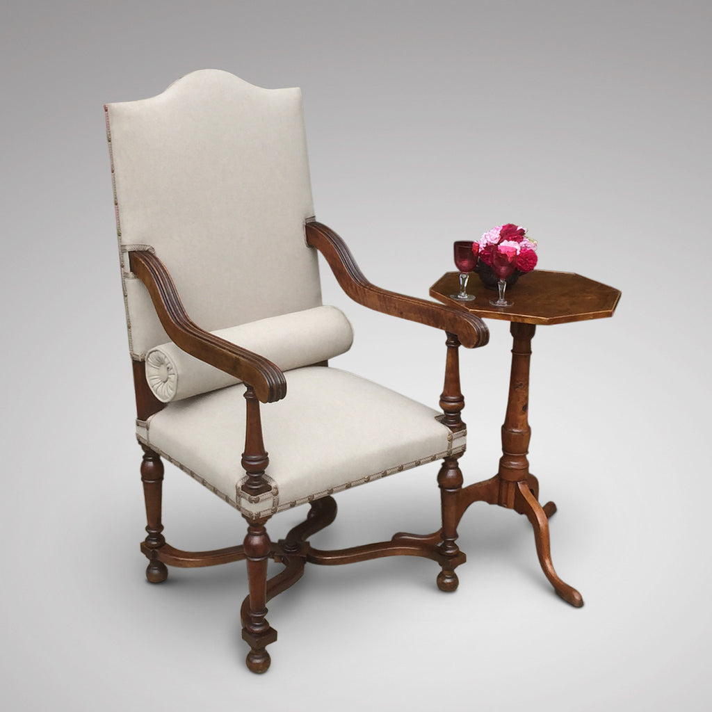 19th Century High Back Open Armchair - Front & side view with bolster 1