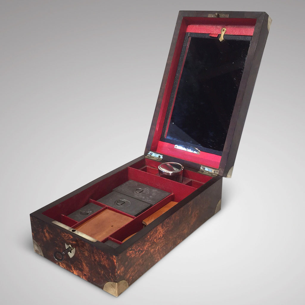 Victorian  Mulberry Wood Campaign Toilette Box - Hobson May Collection - 3