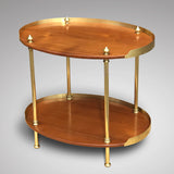 Early 20th Century Teak & Brass Oval Etagere - Front View - 3