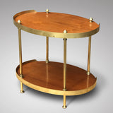 Early 20th Century Teak & Brass Oval Etagere - Back View - 2