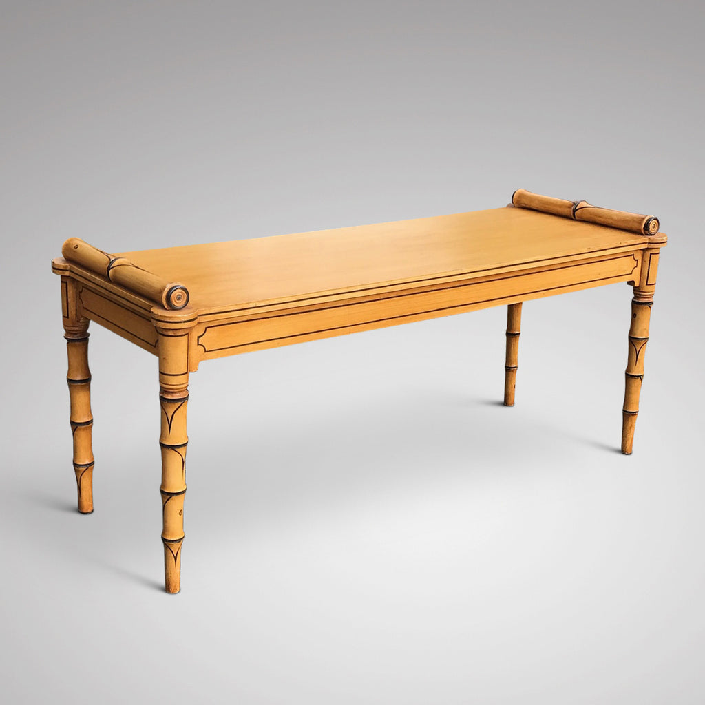 Regency Style Faux Bamboo Hall Bench - Main View - 1