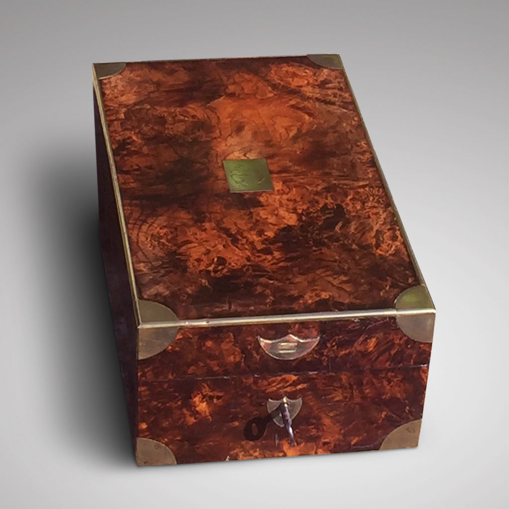 Victorian  Mulberry Wood Campaign Toilette Box - Hobson May Collection - 1