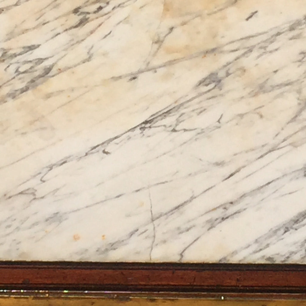 French Empire Mahogany Console/Hall Table - Close up view of marble- 8