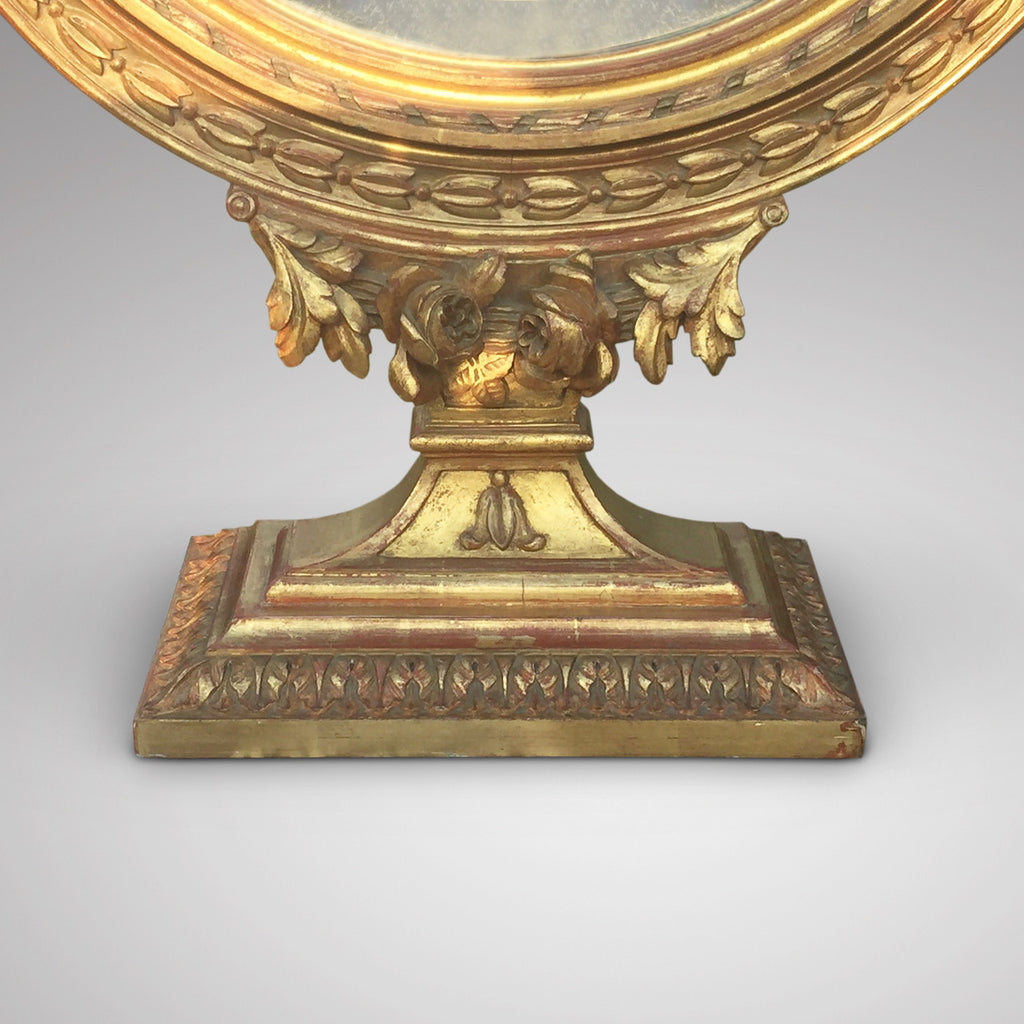 19th Century French Gilt Dressing Mirror - Detail view of base