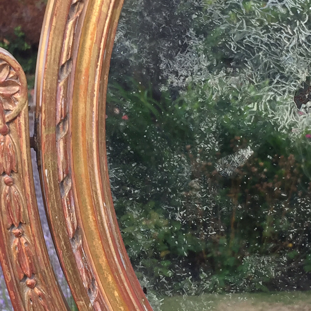 19th Century French Gilt Dressing Mirror - Close up view of glass 1