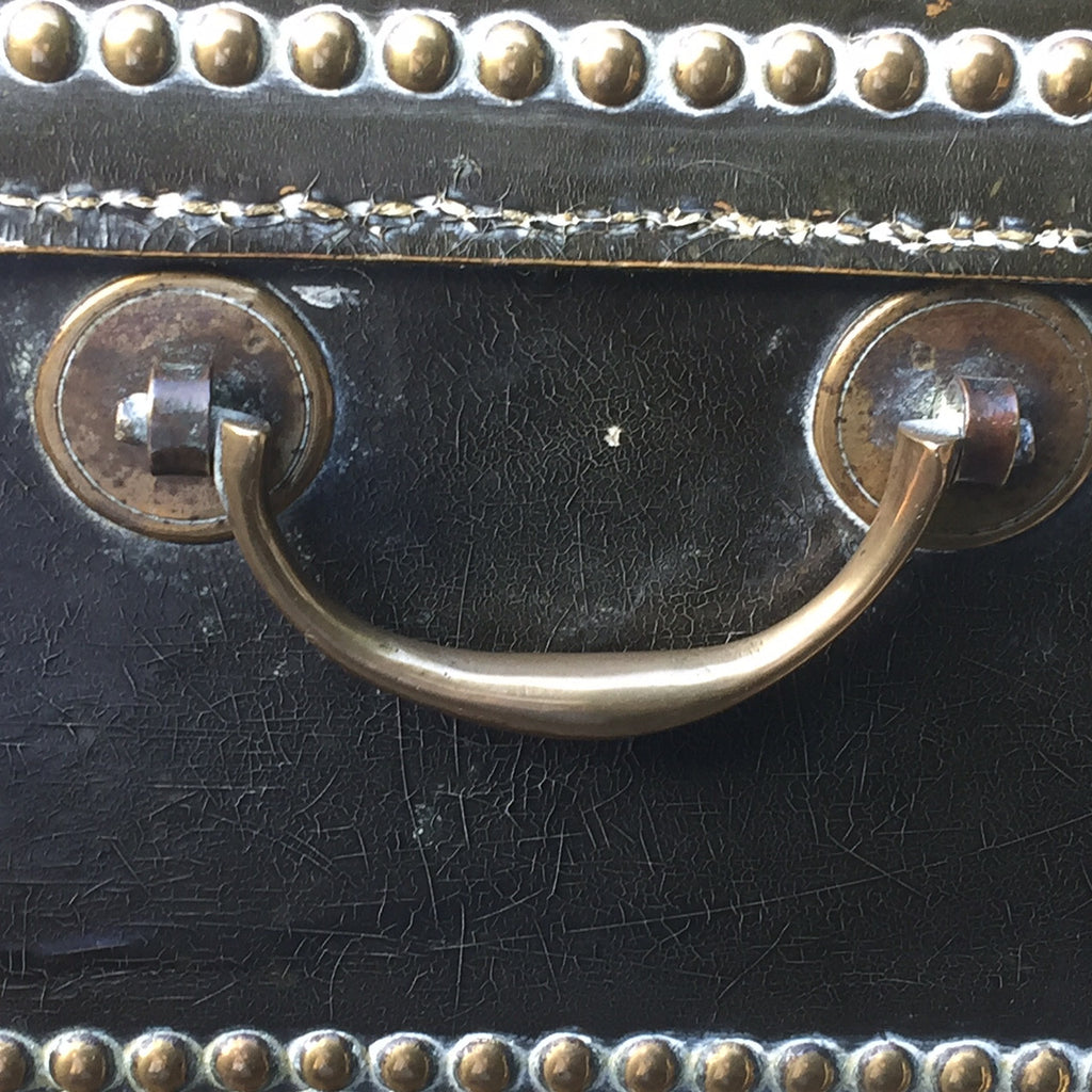Regency Leather Covered Camphor Campaign Box-Handle detail view -7