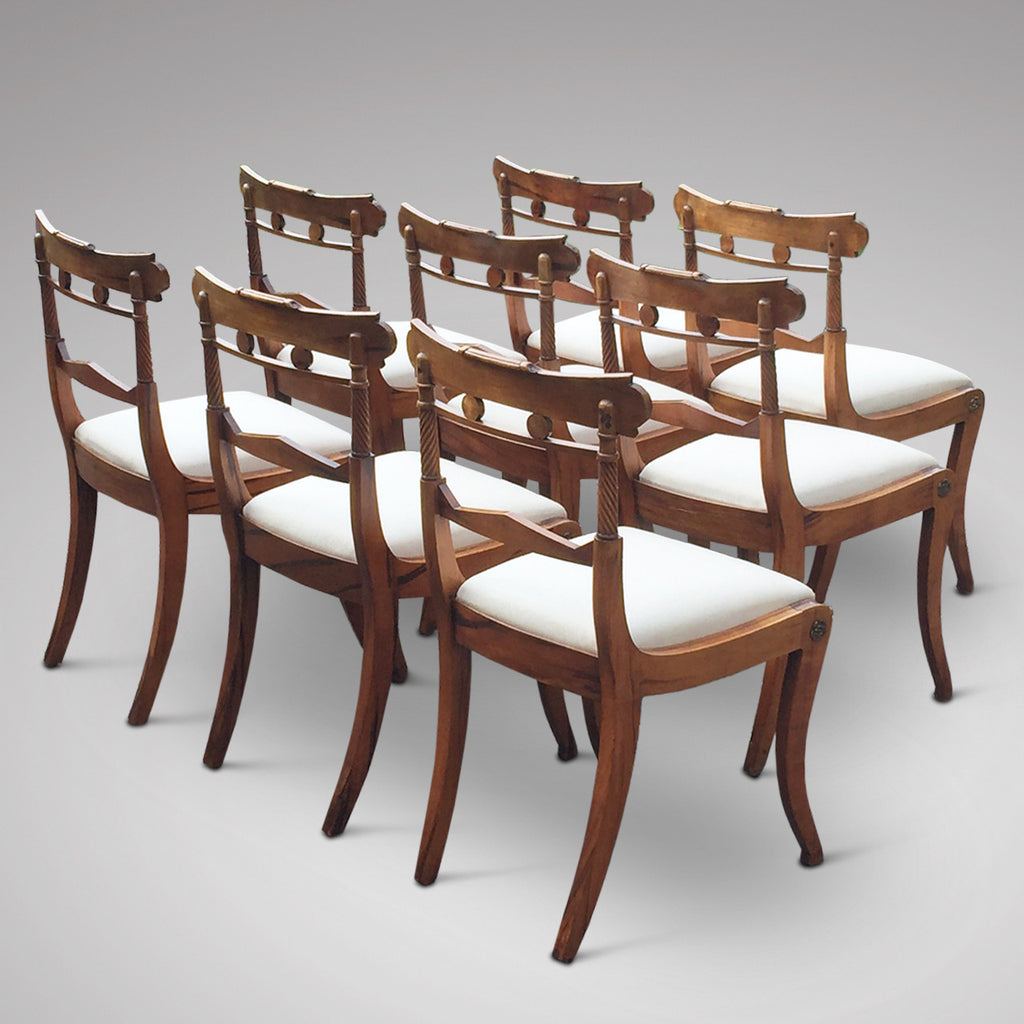Set of 8 Regency Fruit Wood Dining Chairs - Hobson May Collection - 5