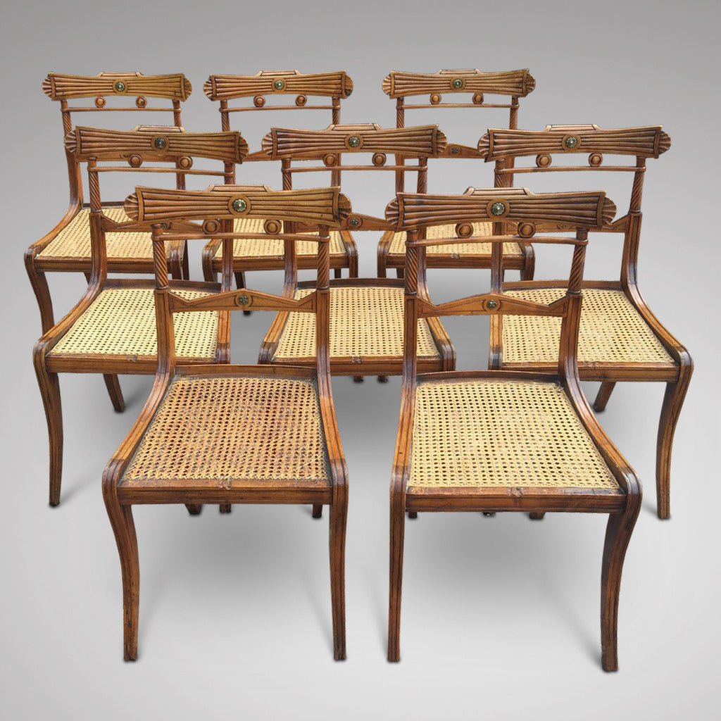 Set of 8 Regency Fruit Wood Dining Chairs - Hobson May Collection - 4