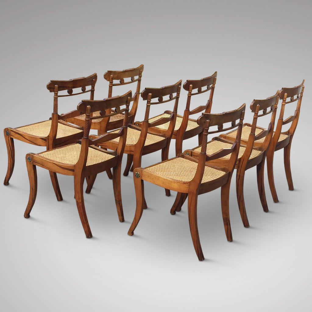 Set of 8 Regency Fruit Wood Dining Chairs - Hobson May Collection - 6