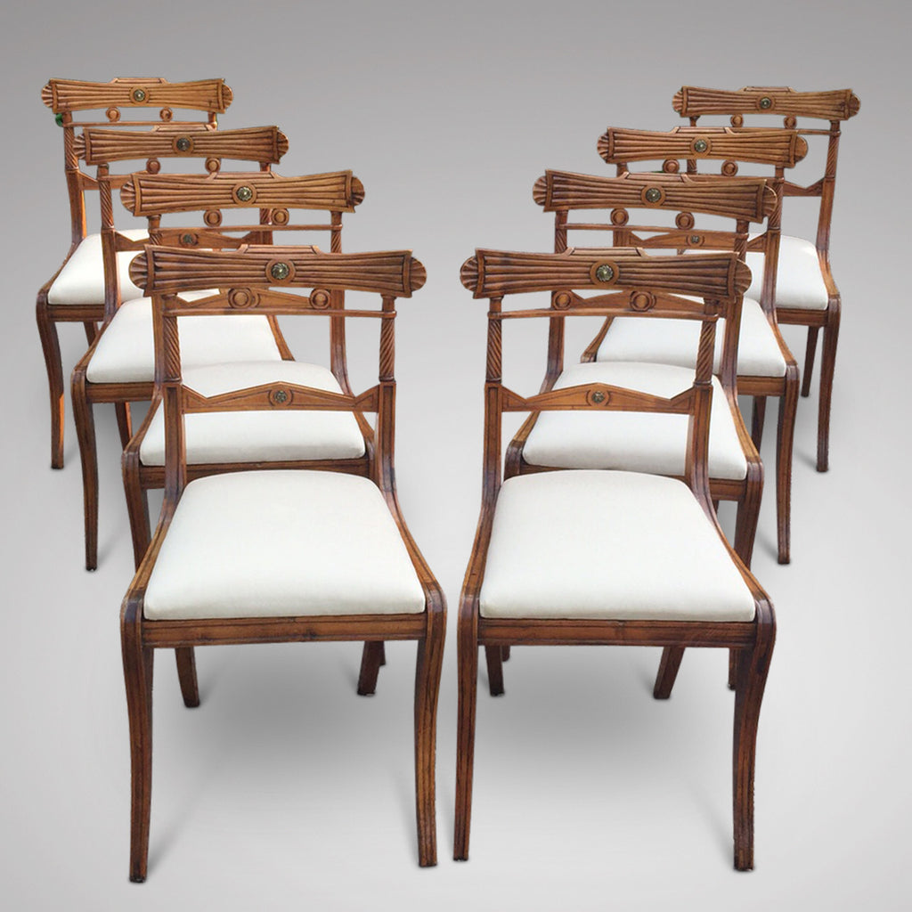 Set of 8 Regency Fruit Wood Dining Chairs - Hobson May Collection - 1
