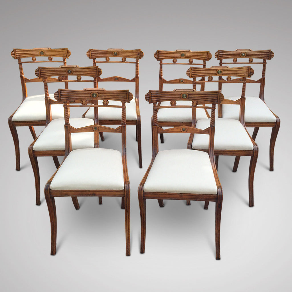 Set of 8 Regency Fruit Wood Dining Chairs - Hobson May Collection - 2