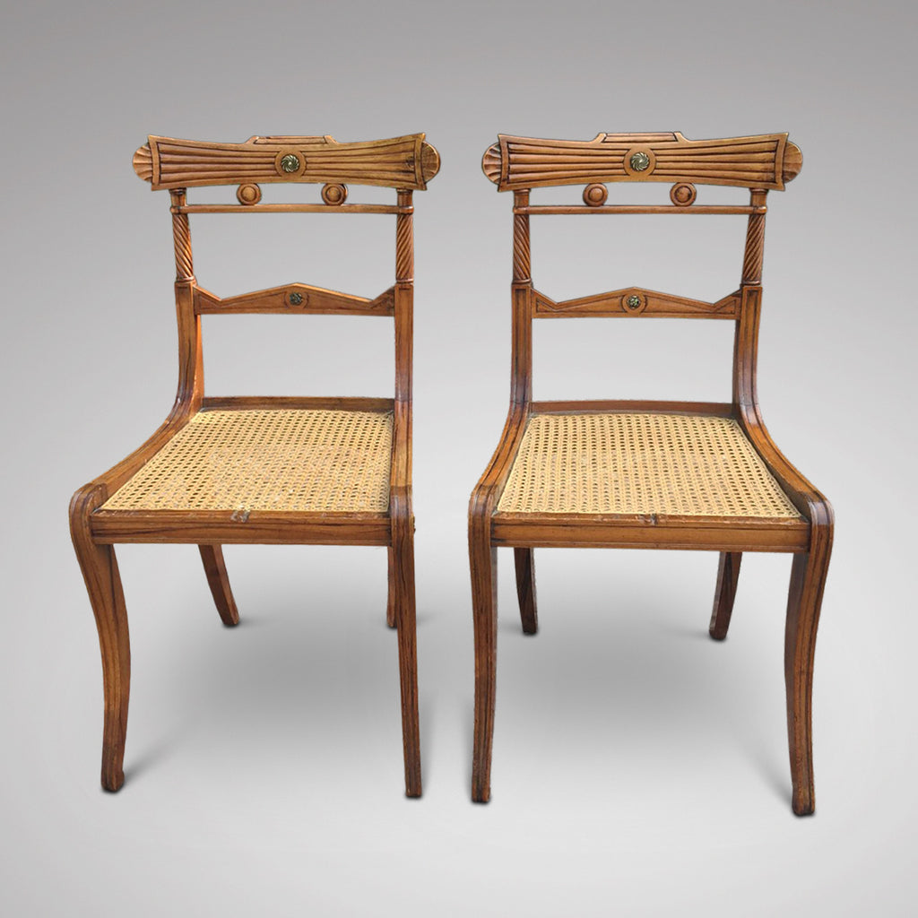 Set of 8 Regency Fruit Wood Dining Chairs - Hobson May Collection - 8