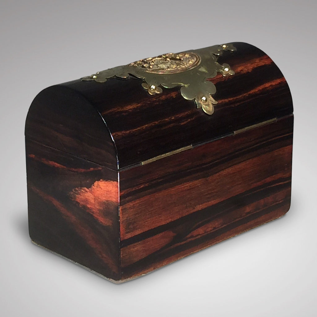 19th Coromandel wood Domed Top Tea Caddy - Back View - 3