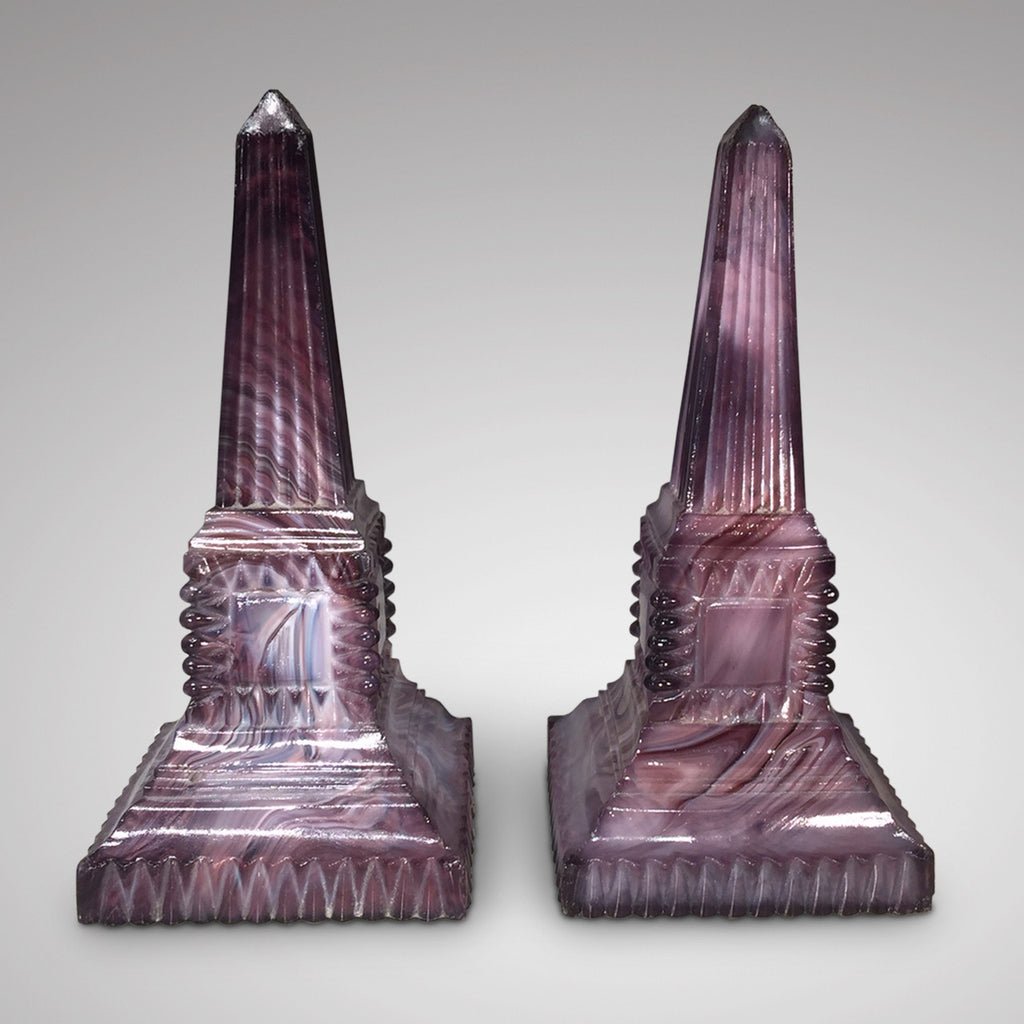 Pair of 19th Century Malachite Glass Obelisk-Front View -2