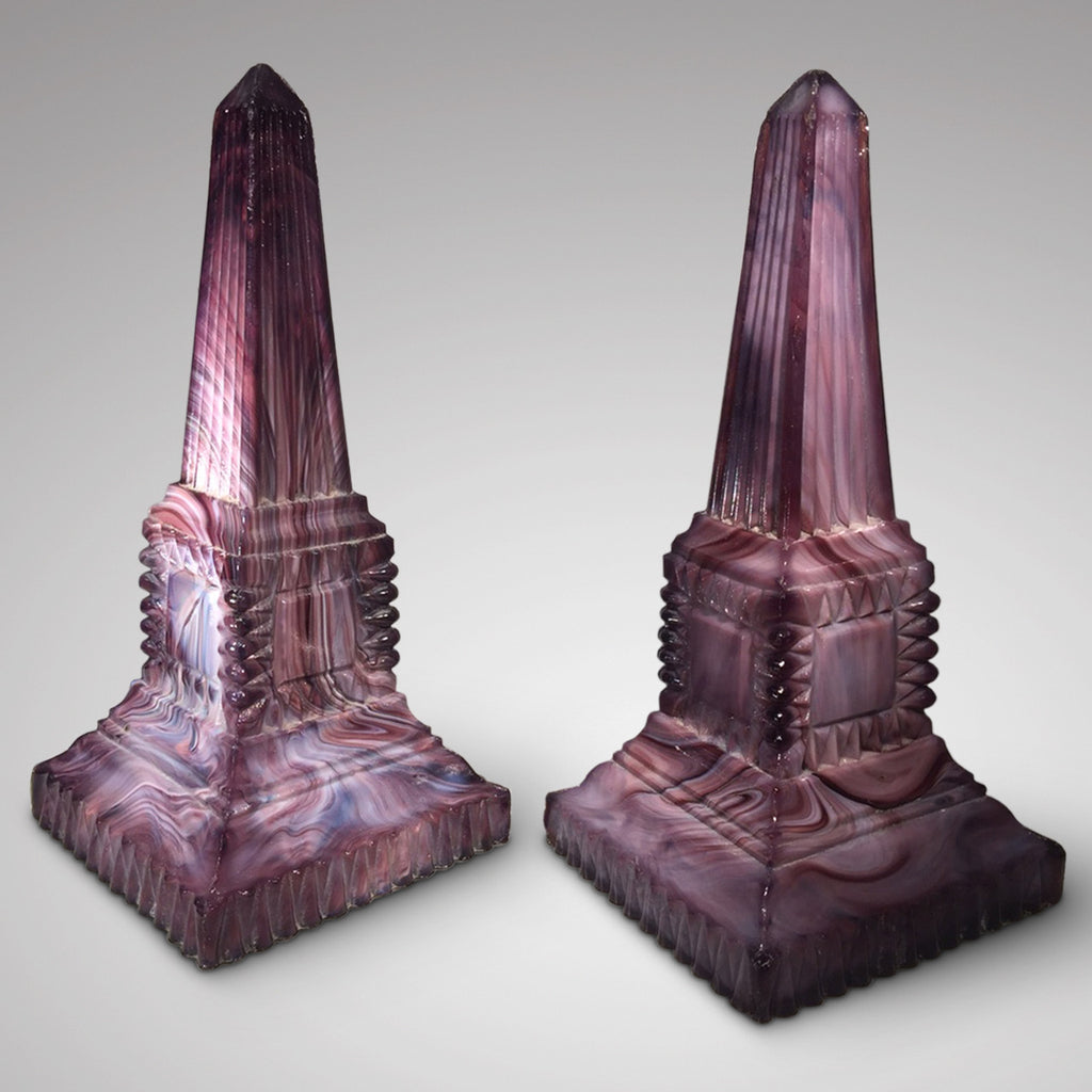 Pair of 19th Century Malachite Glass Obelisks - Front and Side View-3