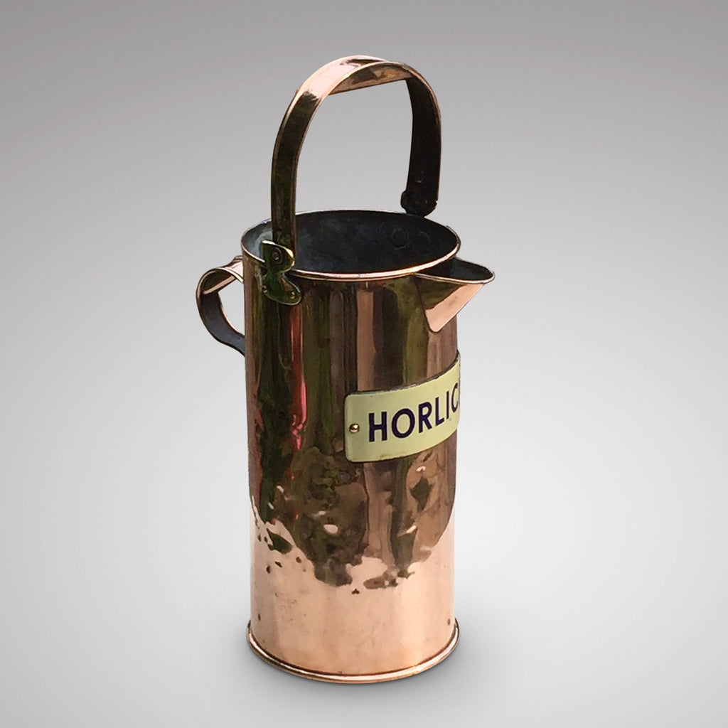 A Rare Copper Horlicks Advertising Jug - Front and Side View- 1