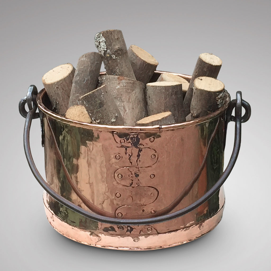 19th Century Copper Planter/Log Bin - Front View - 1